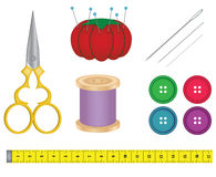 Sewing Supplies. A set of essential sewing and craft supplies Stock Photography