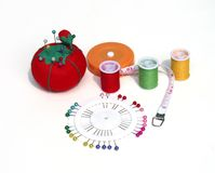 Sewing supplies. Variety of sewing supplies Stock Photo