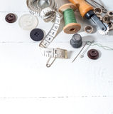 Sewing_supplies_5. Sewing supplies background with white space for your text Royalty Free Stock Images