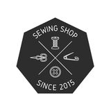 Sewing supplies badge. vector illustration