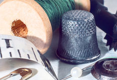 Sewing_supplies. Macro photo of some sewing supplies Royalty Free Stock Image