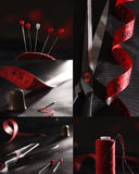 Sewing supplies red and black colors collage Stock Images