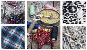 Sewing supplies and samples of fabric Stock Photography