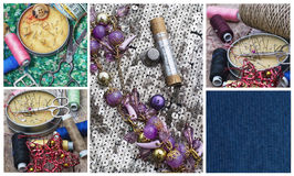 Sewing supplies and samples of fabric Stock Images