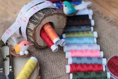 Sewing Supplies ,scissors thread with and scissors. Stock Image
