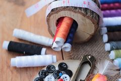 Sewing Supplies ,scissors thread with and scissors. Stock Photos