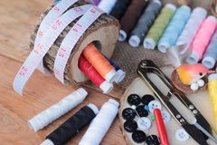Sewing Supplies ,scissors thread with and scissors. Stock Photo
