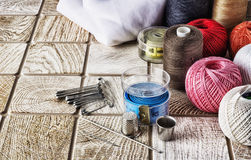 Sewing supplies in a wide range Royalty Free Stock Photo