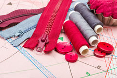 Sewing supply on pattern cutting Royalty Free Stock Photography