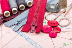 Sewing supply on pattern cutting Royalty Free Stock Image
