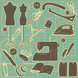 Sewing symbol seamless pattern. Stock Photo