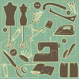 Sewing symbol seamless pattern. Stock Photo