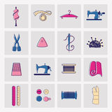 Sewing and tailor icons Royalty Free Stock Images