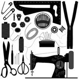 Sewing Tailor Retro Black. A set of sewing equipments for tailor Stock Photography
