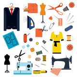 Sewing or tailoring flat icons and items Royalty Free Stock Photos