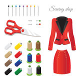 Sewing and tailoring. Icons. Colored thread, colored pins, scissors. Red suit Royalty Free Stock Photography