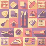Sewing Tailoring and Needlework Decorative Icons Royalty Free Stock Photos