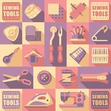 Sewing Tailoring and Needlework Decorative Icons Stock Photos