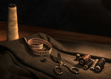 Sewing. And tailoring tools for the manufacture of clothing Royalty Free Stock Photos