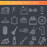 Sewing thin line icons stock illustration