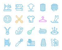Sewing simple color line icons vector set royalty free illustration