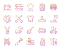 Sewing simple color line icons vector set vector illustration
