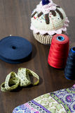 Sewing thread. Elements, red, blue Stock Photography