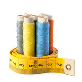 Sewing thread with measure tape  Royalty Free Stock Image