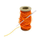 Sewing thread with needle Stock Photography