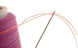 Sewing thread with needle. Isolated on a white background royalty free stock photography