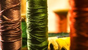 Sewing thread spools shot close up royalty free stock images