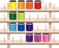 Sewing Thread Storage Wall Rack Stock Photo