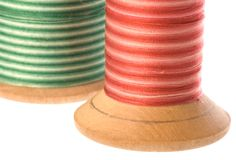 Sewing Thread on Wooden Spools Royalty Free Stock Photography