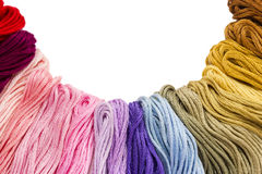 Sewing threads for embroidery on white background Stock Photography