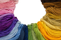 Sewing threads for embroidery on white background Royalty Free Stock Photography