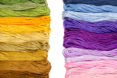 Sewing threads for embroidery on white background Royalty Free Stock Photo