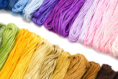 Sewing threads for embroidery on white background Stock Images