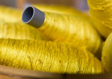 Sewing Threads Golden Color Stock Photo