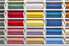 Sewing threads multicolored background closeup Stock Photography