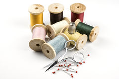 Sewing threads and scissor Royalty Free Stock Photo