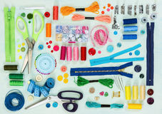 Sewing tool and accessories. Top view. Stock Image