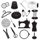 Sewing Tool Icons Collection Royalty Free Stock Photography