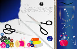 Sewing tools. Vector Stock Photo
