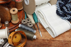 Sewing tools. Soft Furnishing equipment on table Stock Photo