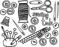Sewing tools. Black and white sewing tools on white background. vector image Stock Photography