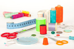 Sewing tools and accessories Royalty Free Stock Photos