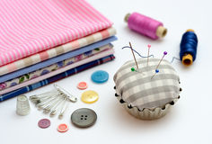 Sewing tools and accessories on table Stock Photography