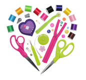 Sewing Tools Arrangement Stock Photo