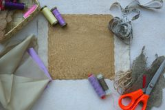 Sewing tools -background. Royalty Free Stock Photography