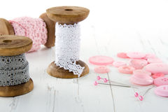 Sewing tools with buttons and lace Royalty Free Stock Photography